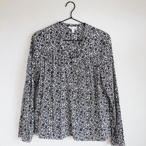 Rebecca Taylor Floral Cotton Popover Blouse Size 4